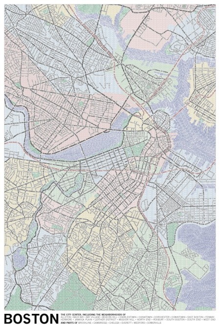 Typografisk kart over Boston